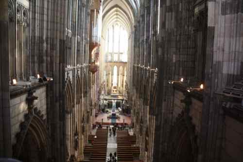inside and high up in the Dom in Cologne