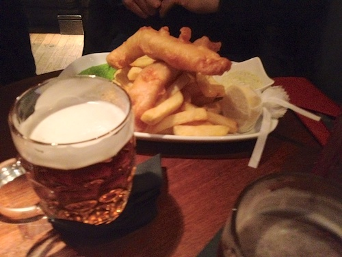 refuelling with some fish & chips and a pint or two