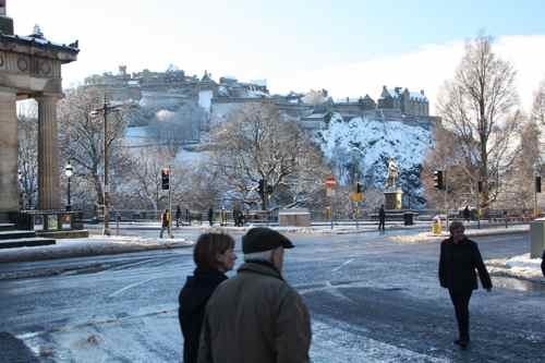 Edinburgh Castle with snow and sun