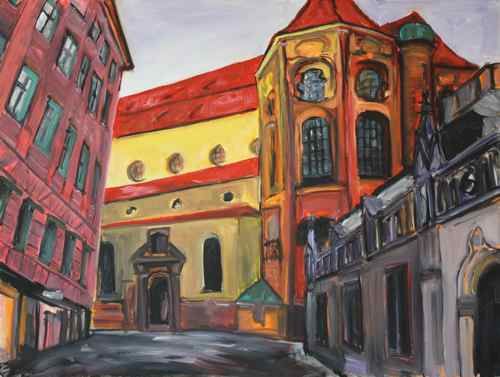 original oil painting: Munich - Alter Peter #1
