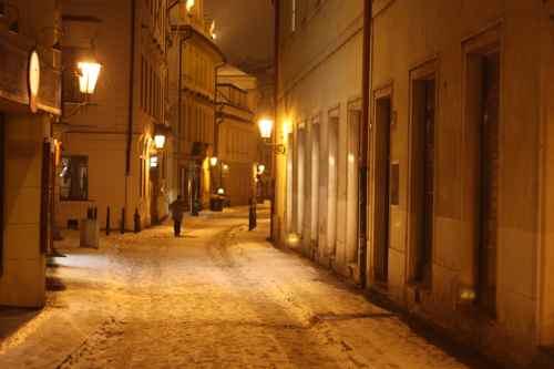 snowy street in Prague
