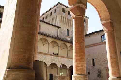 Torrechiara castle courtyard