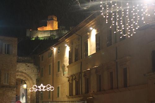 Assisi view of Rocca Maggiore castle