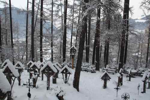 snowy grave yard in Bruneck