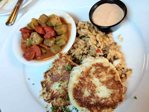 crab cakes, okra, and hoppin johns