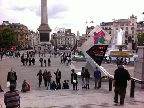 the Olympics countdown clock in Trafalgar Square