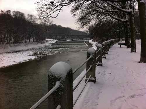 Isar River with snow, Munich