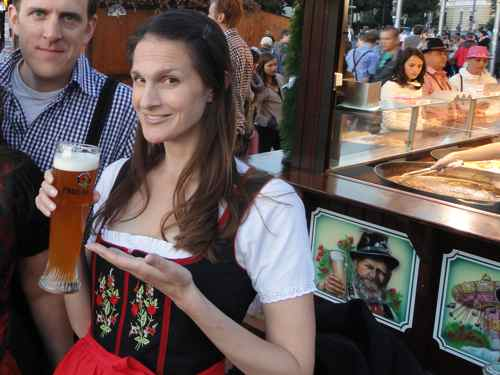 drinking weissbier at Oktoberfest